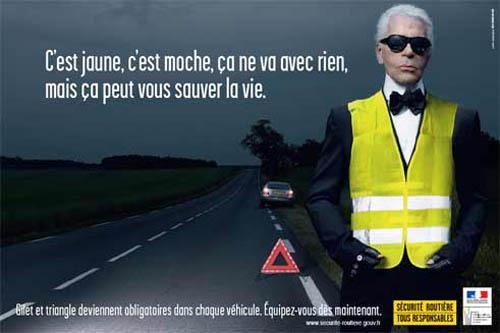 En cas de panne, mettez un gilet jaune de sécurité.